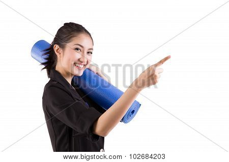 Business Woman Holding A Yoga Mat Preparing The Excercise