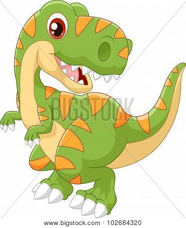 Cartoon dinosaur tyrannosaurus look to the side