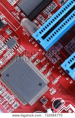 Close-up Of Electronic Circuit Red Board With Processor Of Computer Motherboard