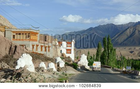 Cars Running Pass The Road In Ladakh