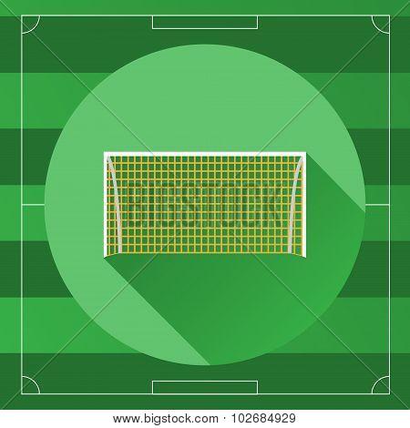 Soccer Goal Round Icon