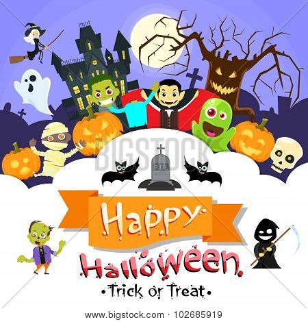 Happy Halloween Banner Monsters Flyer Collection Copy Space Poster