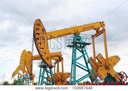 Golden Yellow Oil Pump Of Crude Oilwell Rig