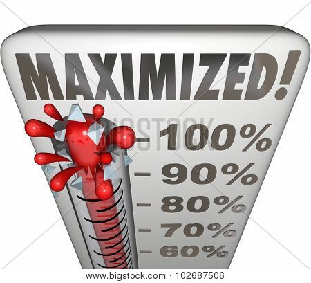 Maximized word on a thermometer to measure return on investment or ROI to track output, outcomes, results or successful achievement