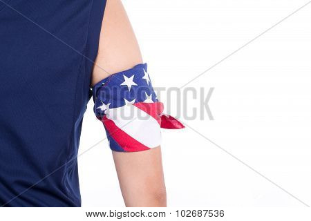 Arm Coiled With Handkerchief Designed As Usa Flag