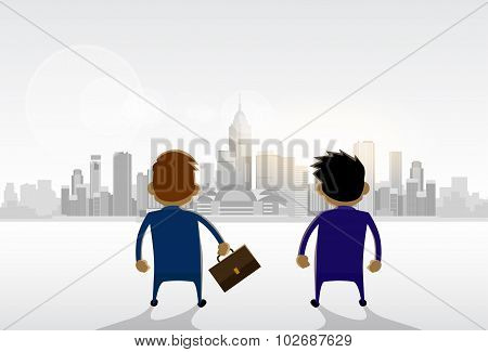 Businessmen Standing Looking City View Panorama