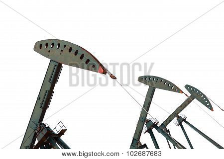 Green Oil Pump Of Crude Oilwell Rig Isolated On White Background
