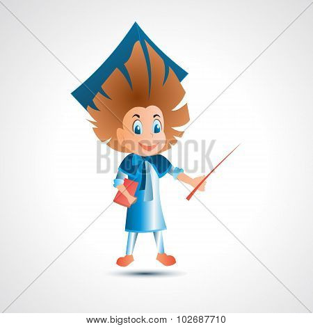 Guy university graduate with pointer - vector illustration