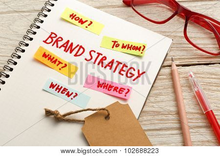 Brand Marketing Strategy Concept With Office Desk