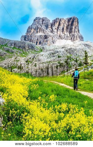 Muntain trail with mountains in Dolomites