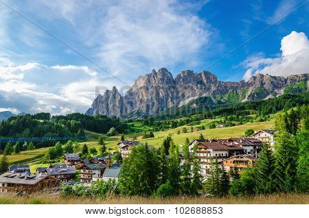 Cristallo Mountains with alpine village, Dolomites