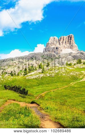Monte Averau and hiking trail in Dolomits