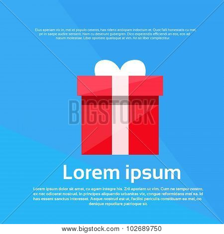 Red Gift Box Present Flat Vector