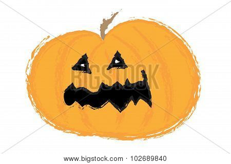 Helloween Pumpkin With Carved Face