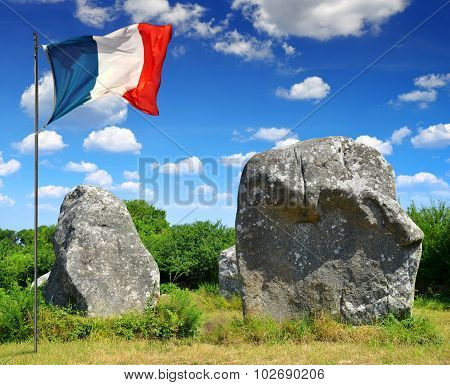 Megalithic monuments menhirs in Carnac