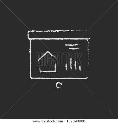 Presentation on the projector screen hand drawn in chalk on a blackboard vector white icon isolated on a black background.