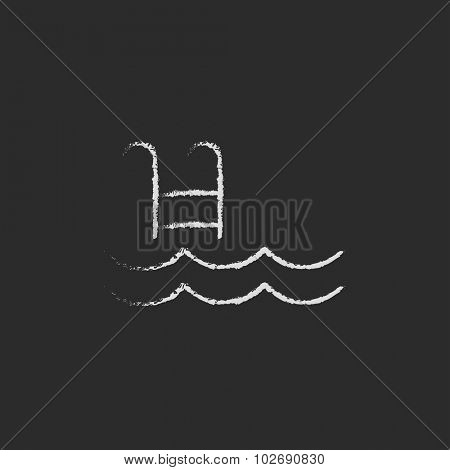 Swimming pool with ladder hand drawn in chalk on a blackboard vector white icon isolated on a black background.