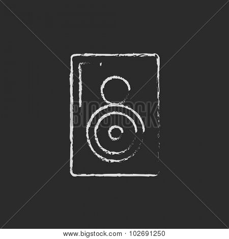 MP3 player hand drawn in chalk on a blackboard vector white icon isolated on a black background.