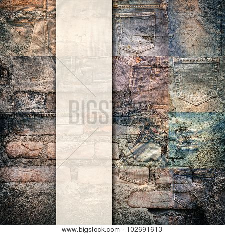 Collage Set Of Jeans Rotten Background