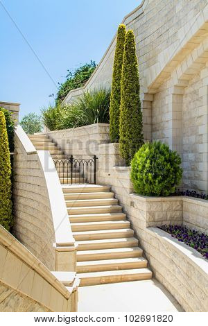 Mediterranean garden with staircase