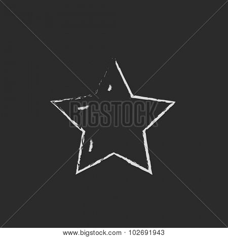 Star rating hand drawn in chalk on a blackboard vector white icon isolated on a black background.