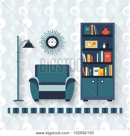 Book shelf and arm-chair.