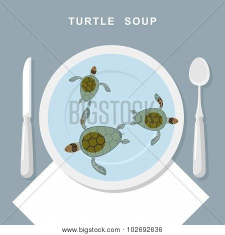 Turtle Soup. Sea Turtles Swim In Plate. Exotic Popular Food Top View. Cutlery: Spoon And Knife. Vect