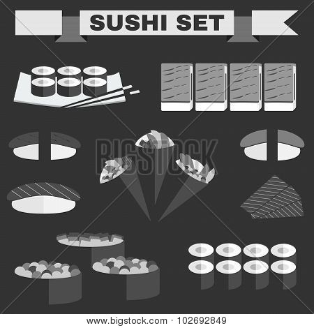 Big Black And White Icon Set Of Sushi