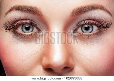 Expressive Eyes With Make Up And Big Eyelashes