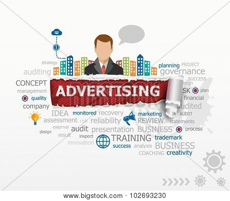 Advertising concept and business man.