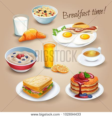 Brekfast time realistic pictograms poster