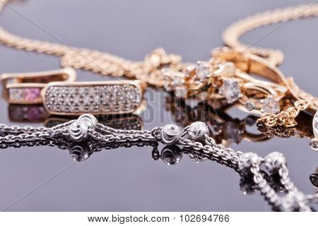 Gold Earrings And Elegant Silver Chain