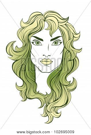 Stylized vector portrait of pretty girl with green hair