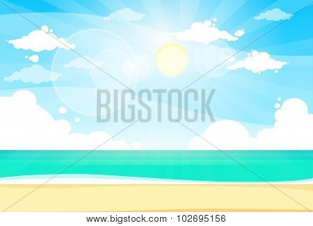 Sea Shore Sand Beach Summer Vacation Blue Sky Sun
