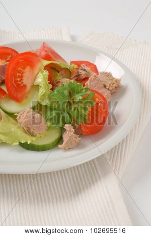 plate of fresh tuna salad on white place mat