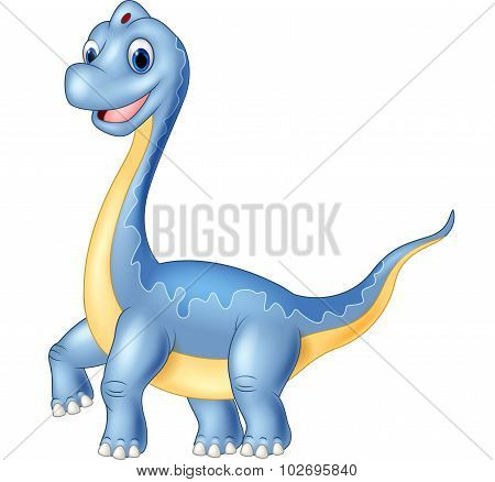 Giant dinosaur brachiosaurus on white background