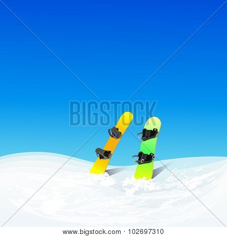 Two Snowboard In Snow Mountain Slope Vector Color Illustration