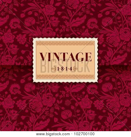 Burgundy card with vintage flower bouquets carnations and chrysanthemums