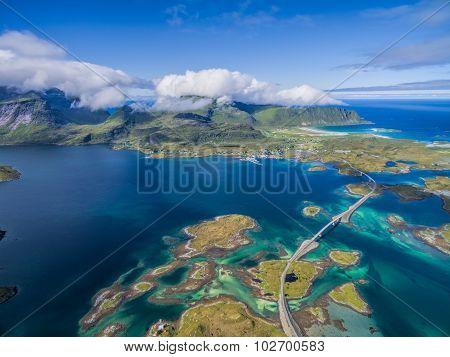 Bridges On Lofoten From Air