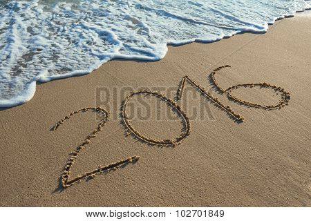 Digit 2016 On Coast Sand At Sunset