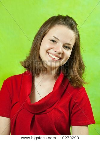 Portrait Girl In Red Dress