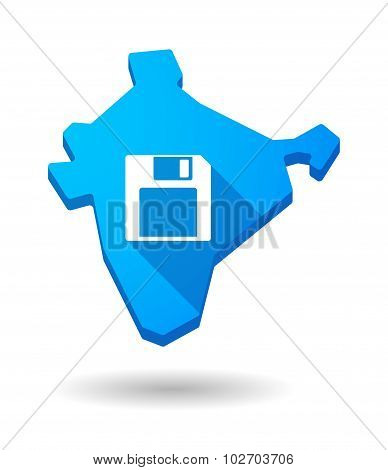 Long Shadow India Map Icon With A Floppy Disk