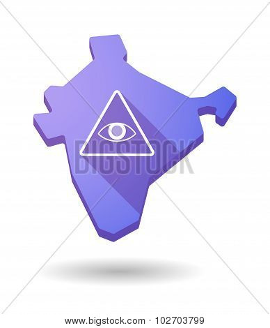 Long Shadow India Map Icon With An All Seeing Eye