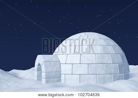 Igloo Icehouse On The Polar Snow Field Under Night Sky With Stars.