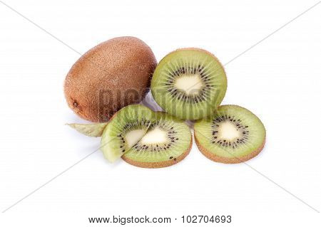 Whole Kiwi Fruit And His Sliced Segments Isolated On White Background Cutout