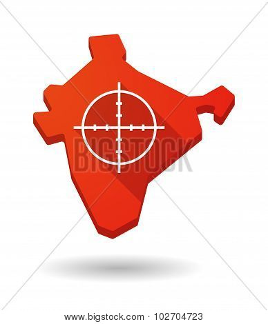 Long Shadow India Map Icon With A Crosshair