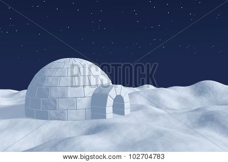 Igloo Icehouse On The Polar Snow Field Under The Night Sky With Stars