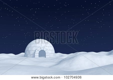 Igloo Icehouse On Polar Snow Field Under The Night Sky With Stars