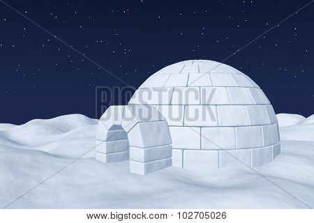 Igloo Icehouse On Polar Snow Field Under Night Sky With Stars
