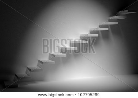 Ascending Stairs Of Rising Staircase In Dark Empty Room With Spot Light 3D Illustration